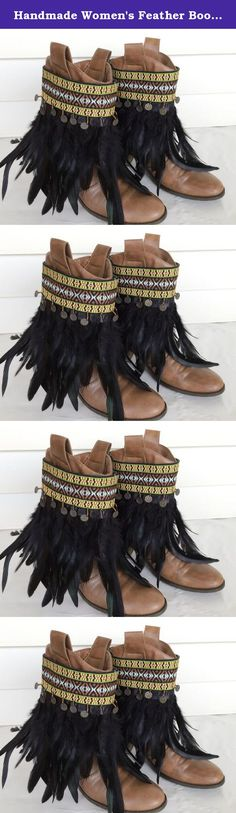 Handmade Women's Feather Boot Covers Bohemian Boot Cuffs Native American Boot Toppers Gypsy Ankle Boot Wraps Adjustable. You will receive a PAIR of the genuine feather boot covers. Boots are NOT included in your purchase. Dress up your plain boots with these lovely Bohemian boot accessories. Two different colors to choose from. They are guaranteed to give your boots an instant stylish look. These lovely boot accessories are made with genuine feathers, Bohemian ribbons, metal coins and…