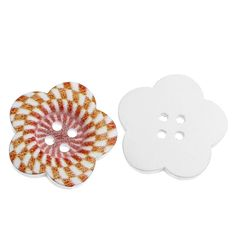 HOUSWEETY 50PCs Wood Sewing Buttons 4 Holes Flower Shape Sunken Scrapbooking 27mm x27mm -- Continue to the product at the image link.