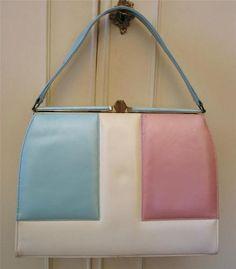 Vintage 1960's Cream Leather Hand Bag w/ Pastel Pink & Blue Panels PanAm Girls | eBay