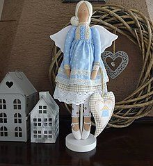Bábiky - Modrá domčeková - 8536243_ Handmade Dolls, Decorations, Christmas Ornaments, Holiday Decor, Home Decor, Decoration Home, Room Decor, Dekoration, Christmas Jewelry