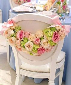 lovely chair decor for a bridal shower or fancy afternoon tea