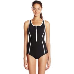 Speedo Women's Front-Zip One-Piece Fitness Swimsuit (64 AUD) ❤ liked on Polyvore featuring swimwear, one-piece swimsuits, strappy bathing suit, sporty bathing suits, strappy one piece bathing suit, 1 piece bathing suits and sporty swimsuits