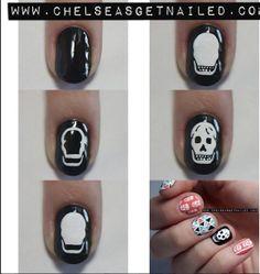 how to: skull nail art