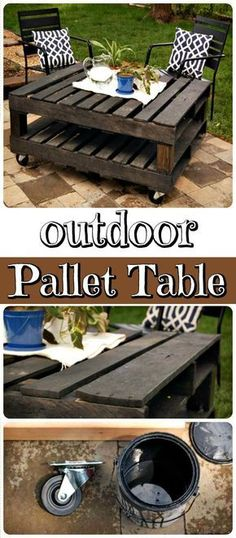 DIY Outdoor Pallet Coffee Table on Wheels - 150 Best DIY Pallet Projects and Pallet Furniture Crafts - Page 5 of 75 - DIY & Crafts #palletoutdoorfurniture