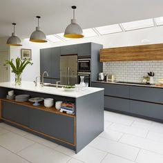35 Ideas dark wood kitchen units interior design for 2019 Kitchen Units, Open Plan Kitchen, Kitchen Tiles, Kitchen Flooring, Kitchen Cabinets, Concrete Kitchen Floor, Laminate Flooring, Hardwood Floors, Grey Kitchens