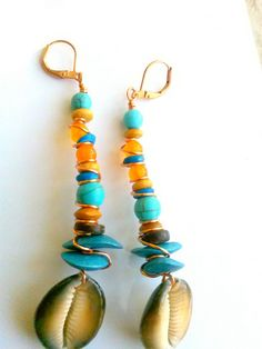 Boho+Earrings++Turquoise+Earrings+++Cowrie+by+ZenCustomJewelry,+$18.00
