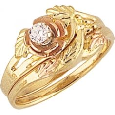 Black Hills Gold Diamond Rose Wedding Set