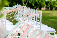 Coral and turquoise ribbon chair decoration. Coral, Turquoise, Wedding Chairs, Beautiful Islands, Unique Weddings, Ribbon, Decoration, Design, Tape
