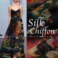 """Black Floral Chiffon. black Silk Fabric. Multi color fabric. Mousseline de soie. 6momme. Width 53"""".  SCB100765"""