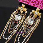 Betsey Johnson crystal drop CROSS tassle multi layer earrings, New on card - Designer Jewelry Galleria