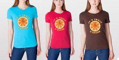 Fruit O'Clock Womens Shirt - American Apparel - Vegan shirt - Fruit shirt - Orange shirt