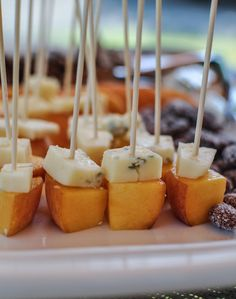 There is no recipe here..but this is pretty simple..but so elegant..pears and a little blue or gorgonzola on a toothpick!!!