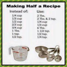 Measurements for Half a Recipe