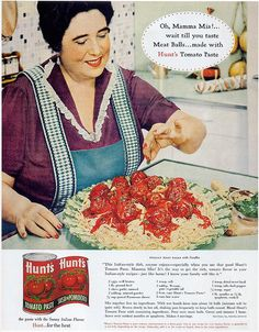 Vintage Hunt's Tomato Paste advertisement featuring a recipe.