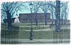 'Green Park' by Robert Tavener (lithograph) British Artists, Illustration Art, Illustrations, London Places, Green Park, Lino Prints, Wood Carvings, Woodblock Print, Cityscapes