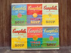 Turn soup labels into canvas art...  good idea, we had talked about getting cans they are so colorful