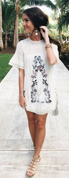 This embroidered white dress is seriously TOO CUTE! I love the textures and these shoes are also totally awesome!