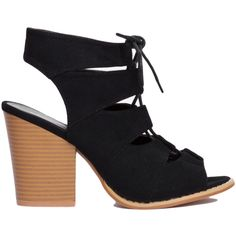 Black Suede Cut Out Peep Toe Heeled Ankle Booties ($45) ❤ liked on Polyvore
