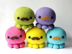 Cute little octopuses with mustaches