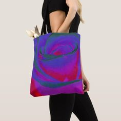 Blue Rose Altered Photo Tote Bag - blue gifts style giftidea diy cyo