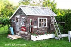 Rustic reclaimed lumber look...yeah, I think this look will fit in my garden...but more open/more windows.