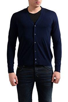 PRADA Prada Men'S 100% Wool Dark Blue Cardigan Sweater. #prada #cloth #