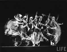 "-Martha Graham, 1941-  Multiple image of choreographer Martha Graham performing ""Punch & Judy,"" her own work, at Mili Studio.  Gjon Mili"