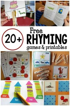 How to Teach Your Child to Read - Love this big collection of rhyming games and free rhyming activities! Give Your Child a Head Start, and.Pave the Way for a Bright, Successful Future. Rhyming Activities, Kindergarten Literacy, Early Literacy, Literacy Centers, Phonics Games, Jolly Phonics, Literacy Stations, Language Activities, Emergent Literacy