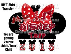 Two Printable DIY First Disney Trip T-shirt Transfers or Clip Art - DIY Minnie Mouse Hat Shirts - Instant Download by FrostedMouseMemories on Etsy