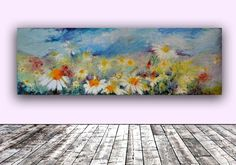 ARTFINDER: Daisies Spring Field FREE SHIPPING Eu... by Soos Roxana Gabriela - A stunning modern floral painting, made with professional oils on stretched heavy canvas. Dimensions: 120X40X4 cm (47.25x15.75x1.6 inches) It is signed and...