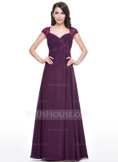 A-Line/Princess Sweetheart Floor-Length Chiffon Lace Evening Dress With Ruffle Beading Sequins (017056147) - JJsHouse