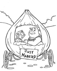 shrek shrek and princess fiona in onion carriage they were just married coloring page shrek and princess fiona in onion carriage they were just married