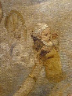 WILLETTE Adolphe,1884 - Parce Domine - Detail 140 : Français : Un bébé tendu au-dessus de la foule -  English: - A baby hold up above the crowd - Montmartre -