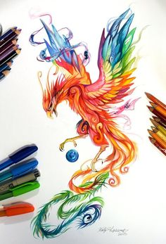 Regal Phoenix by Katy Lipscomb [Colour pencils and markers]<<<<<so pretty! Bild Tattoos, Body Art Tattoos, Phoenix Tattoo Design, Phoenix Tattoos, Phoenix Design, Future Tattoos, Cool Drawings, Horse Drawings, Colorful Drawings