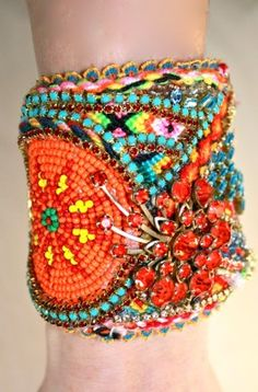 Colourful beaded textile bling wrist cuff bracelet by DolorisPetunia on Etsy • boho • bohemian hippie style • riawati