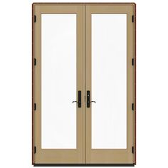JELD-WEN 60 in. x 96 in. W-4500 Mesa Red Prehung Left-Hand Inswing French Patio Door with Contemporary Frame