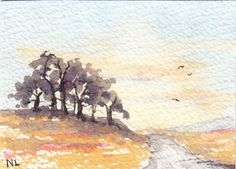 ACEO Miniature Card Original Watercolour - Out in the Country - Essex England