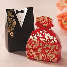 Floral Gown&Tuxedo Favor Box - Set of 12 – USD $ 11.51