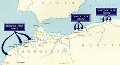 Carte des opérations de débarquement au Maroc et en Algérie lors de l'opération torch