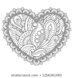 Draw Flower Patterns Mehndi flower pattern in form of heart for Henna drawing and tattoo. Decoration in ethnic oriental, Indian style. Coloring book page. Free Adult Coloring Pages, Coloring Pages To Print, Coloring Book Pages, Mehndi Flower, Henna Drawings, Pop Art, Indian Style, Plant Drawing, Flower Patterns