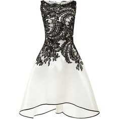 Naeem Khan Liquid Organza Dress With Lace Bodice ($4,990) ❤ liked on Polyvore featuring dresses, vestidos, short dresses, party dresses, lace cocktail dress, floral lace dress, short white cocktail dress and lace dress