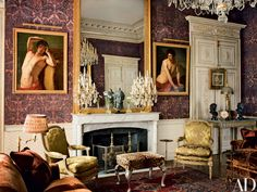 Paintings by J.A.C. Pajou flank the main salon's 19th-century overmantel mirror, while Louis XVI armchairs mingle with an antique Portuguese stool; the 19th-century marble mantel displays a pair of 18th-century French girandoles.