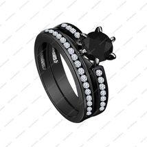 Black Rhodium Over Black & White CZ Bridal Ring In 925 Sterling Silver - Rings