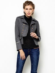 Western Elegant High Quality Long Sleeve Coat Grey