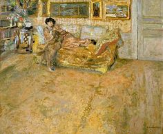 Interior with Madame Hessel and Her Dog by Jean Edouard Vuillard