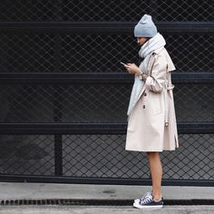 Converse, trench coat, scarf, and a beanie. These are the fall essentials.