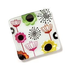 Glass Fusion Plate - Poppy Brights
