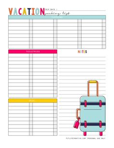Free Printable Vacation Packing List from Fit Life Creative