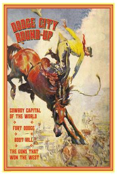 Cowboy Rodeo Poster Dodge City Kansas  18x24 by LuckyStarsRanchTX, $24.99