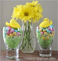 An Adorable Idea For Decorating The Table Sweet Peeps Chicks Candy Decoration Treat